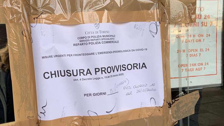 Bar chiuso a Torino per violazione regole anti Covid