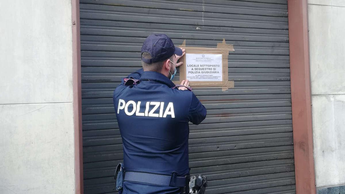 Chiusura locale in via Madama Cristina